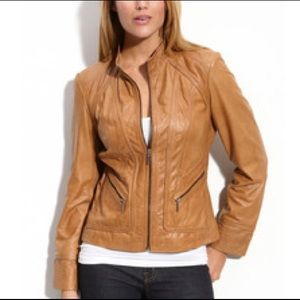 Bernardo Zip Front Leather Jacket Biker PXS Tan